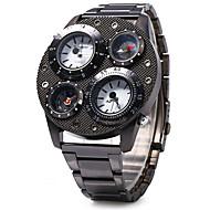 SHI WEI BAO 男性 軍用腕時計 Compass 温度計 3タイムゾーン クォーツ ステンレス バンド クール ラグジュアリー ブラック