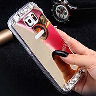 luxe diamanten spiegel case voor de Samsung Galaxy s6 g9200 handgemaakte strass kristal zachte TPU frame dekking S7 / s7e / s6edge +