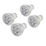 4W GU10 Spot LED MR16 4 LED Haute Puissance 350 lm Blanc Chaud Décorative AC 100-240 V 4 pièces