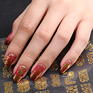 3D Nail Art Full Nail Sticker Golden Color ,60 Decals/Sheet,5 Different Styles in 1 Sheet,For 5 Pairs of Hands-YILIN-82G