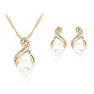 Biżuteria Ustaw Perłowy Imitacja pereł Kryształ górski Pokryte różowym złotem Stop White Naszyjnik / Kolczyki Ślub Impreza Codzienny 1set