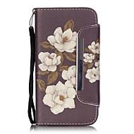 patrón de flores de peonía leahter de la PU cubierta de cuerpo completo con soporte y la ranura para tarjeta para Samsung Galaxy S4 S5 S6