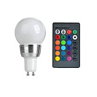 3W GU10 Ampoules Globe LED 1 LED Haute Puissance 130 lm RGB Commandée à Distance AC 85-265 V 1 pièce
