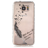 For Samsung Galaxy S7 Edge Transparent Mønster Etui Bagcover Etui Fjer TPU for Samsung S7 edge S7