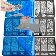 10pcs  Lace Stamping Plate  Polish Nail Art Transfer Template And 1 Square Transparent Stamp BC1-10