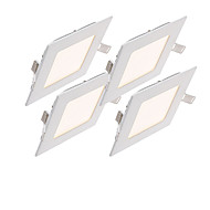 6W Paneellampen 30pcs SMD 2835 500-550lm lm Warm wit / Koel wit / Natuurlijk wit Decoratief AC 85-265 V 4 stuks