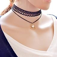 Damskie Naszyjniki choker Perlový náhrdelník Perłowy Stop Podwójna warstwa Black Biżuteria Na Codzienny Casual 1szt
