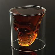 ısıya dayanıklı çift duvarlı şeffaf yaratıcı korkunç kafatası kafa yenilik drinkware viski şarap votka çekim cam bardak