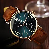 YAZOLE Heren Dames Voor Stel Modieus horloge Kwarts Waterbestendig Leer Band Zwart Kaki Groen Blauw zwart/wit Zwart/Groen Zwart en Blauw