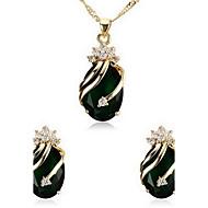 Women's Green Cubic Zirconia Necklace Earrings Jewelry Set