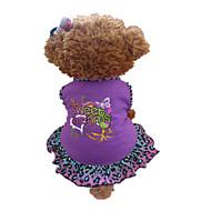 개 드레스 퍼플 강아지 의류 여름 동물 / 하트 레오파드
