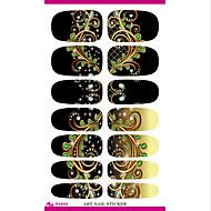 Transfer wody folii paznokci naklejki czarny sen pawie pióra paznokci zawija naklejkę eleganckie