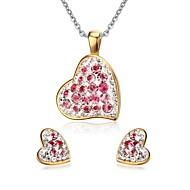 Women's Rhinestone Sweet Heart Style Gold Necklace Earrings Jewelry Set