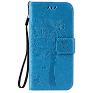 For iPhone 6 etui iPhone 6 Plus etui Pung Kortholder Med stativ Flip Præget Etui Heldækkende Etui Træ Hårdt Kunstlæder for AppleiPhone 6s