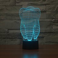 tand form 3d illusion ledde bordslampa nattlampa