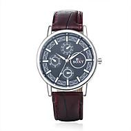 mode de quartz analogique rond montres-bracelets en cuir de verre des hommes regarder relogio masculino style business casual