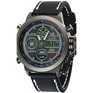 Hombre Reloj Deportivo / Reloj Militar / Reloj de Moda Digital / Cuarzo JaponésLCD / Resistente al Agua / Dos Husos Horarios / alarma /