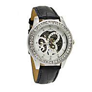 WINNER® Women's Manual Mechanical Butterfly Dial Diamond Case Black Leather Band Wrist Watch (Assorted Colors) Cool Watches Unique Watches