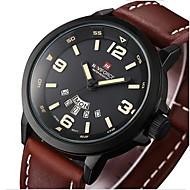 NAVIFORCE 男性 軍用腕時計 カレンダー クォーツ 日本産クォーツ レザー バンド カジュアルスーツ ラグジュアリー ブラック ブラウン