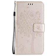 Voor Samsung Galaxy hoesje Kaarthouder / Portemonnee / met standaard / Flip / Reliëfopdruk hoesje Volledige behuizing hoesje Boom Zacht