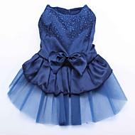고양이 개 드레스 레드 블루 골드 강아지 의류 여름 모든계절/가을 스팽글 생일 휴일 웨딩