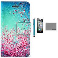 iPhone 4 / 4S用のスクリーンプロテクターとUSBケーブルとスタイラスでココfun®空赤い花柄のPUレザーケース