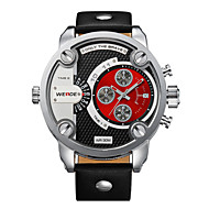 WEIDE® Men Military Design Dual Time Zones Watch Quartz Analog Leather Strap Wrist Watch Cool Watch Unique Watch Fashion Watch