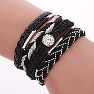 Dame Wrap Armbånd Læder Armbånd Yndig Folk Style Mode Boheme Stil Læder Nylon Legering Geometrisk form Sort Blå Smykker ForFest Daglig