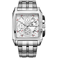 MEGIR® Men's Silver Stainless Steel Band Black/White Case 30M Water Resistant Wrist Dress Watch(Include Package)