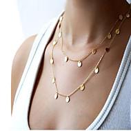 女性 チェーンネックレス ステートメントネックレス 合金 ファッション シンプルなスタイル ダブルレイヤー 欧風 ジュエリー のために 日常 カジュアル 1個