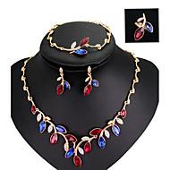 Schmuckset Modisch Mehrfarbig Acryl Strass vergoldet Aleación Regenbogen Halsketten Ohrringe Ringe Armband Für Hochzeit Party 1 Set