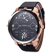 SHI WEI BAO Herren Militäruhr Modeuhr Armbanduhr Quartz Duale Zeitzonen Drei-Zeit-Zonen Leder Band Cool Schwarz BraunSchwarz Grau Braun