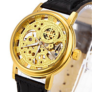 CAGARNY 男性 スケルトン腕時計 ファッションウォッチ リストウォッチ 機械式時計 透かし加工 自動巻き 本革 バンド ビンテージ フラワー クール カジュアルスーツ ラグジュアリー ブラック ブラウン