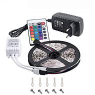 rgb llevó la tira 5m 300 3528smd flexible de luz llevado lámparas de decoración de fiesta cinta dc12v adaptador de alimentación 3a mando a