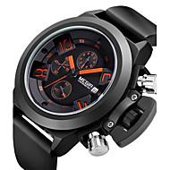 Herren Armbanduhr Japanischer Quartz Kalender / Chronograph / Wasserdicht Silikon Band Schwarz Marke- MEGIR