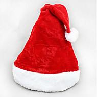 2PCS Christmas Short Plush Velvet Santa Hat Super Soft Christmas Hat