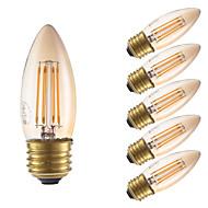 3.5W E26 LED Filament Bulbs B10 4 COB 300 lm Amber Dimmable 120V 6 pcs