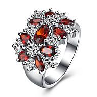 Pierscionek Cyrkonia Cyrkon Miedź Stal tytanowa sztuczna Diament Czerwony Biżuteria Codzienny Casual 1szt