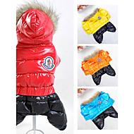 개 코트 후드 점프 수트 강아지 의류 겨울 모든계절/가을 컬러 블럭 스포츠 따뜻함 유지 방풍 오렌지 옐로우 레드 블루