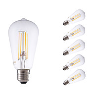 6W E27 LED Filament Bulbs ST64LF 4 COB 600 lm Warm White Dimmable / Decorative AC 220-240 V 6 pcs