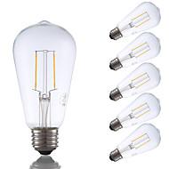 2W E26 LED-glødepærer ST19 2 COB 220 lm Varm hvit Dimbar / Dekorativ AC 110-130 V 6 stk.