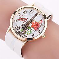 Xu™ 아가씨들 패션 시계 손목 시계 석영 PU 밴드 빈티지 에펠탑 캐쥬얼 블랙 화이트 레드 브라운 핑크
