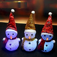 1PCS Color Changing LED Snowman Christmas Decorate Mood Lamp Night Light Xmas Tree Hanging Ornament Ramdon Color