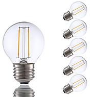 2W E26/E27 Lampadine LED a incandescenza G16.5 2 COB 200 lm Bianco caldo Intensità regolabile V 6 pezzi