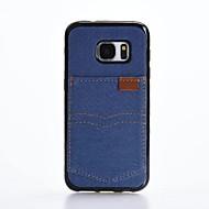Voor Kaarthouder Schokbestendig hoesje Achterkantje hoesje Effen kleur Zacht Textiel voor Samsung S7 edge S7