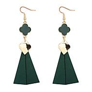 Kolczyki wiszące minimalistyczny styl Europejski Drewniany Czterolistna koniczyna Black Czerwony Green Biżuteria NaImpreza Codzienny