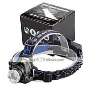헤드램프 LED 2000 루멘 3 모드 Cree XM-L T6 18650 컴팩트 사이즈 캠핑/등산/동굴탐험 일상용 사이클링 사냥 여행 일 멀티기능 등산 야외 알루미늄 합금 PVC