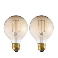2W E26/E27 LED-glødepærer G80 2 COB 180 lm Ravgult Dekorativ V 2 stk.