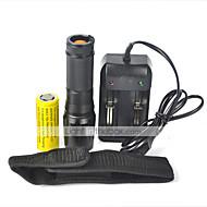 LT LED손전등 LED 2000 루멘 5 모드 Cree XM-L T6 18650 26650 방수 충전식 충격 방지 스트라이크베젤 전술적 인 응급 줌이 가능한 캠핑/등산/동굴탐험 일상용 사이클링 사냥 낚시 여행 등산 야외 알루미늄 합금