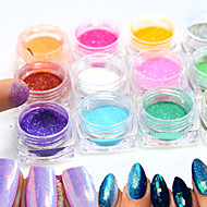 12bottle/set  Hot Fashion Colorful Nail Art Glitter Mermaid Powder Decoration Nail DIY Magic Mirror Sparkling Powder Nail Glitter Pigment M01-12